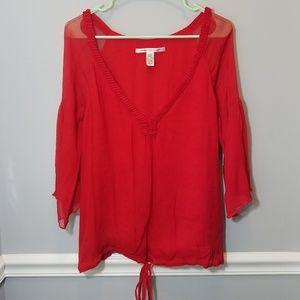 Red Diane Von Furtsenberg Long Sleeve Shear Blouse